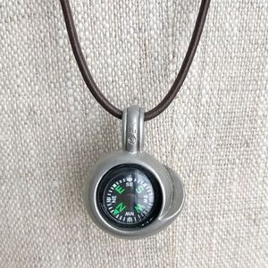 Compass & Shell Pewter & Leather Necklace NWOT